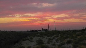 One of the great sunsets we had while pitching the tent downwind from an oil refinery and near a pumpkin patch.