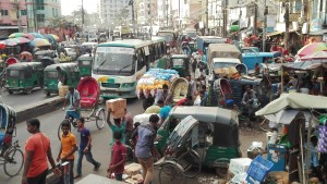 Chittagong, Station road, soroll, tràfic, soroll, caos, soroll