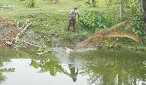 Pescador llençant xarxa