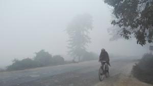 Ciclista local apareixent de dins la boira