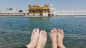 Els nostres estimats peus ens han portat fins aquí. Nosaltres al temple daurat d'Amritsar