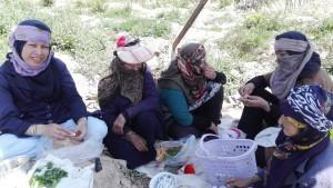Treballadores del camp que comparteixen el seu esmorzar. Te, pa i formatge