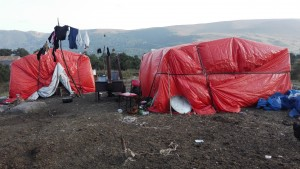 "Azerbaijani shepherds that live in Georgia move their cattle to the cooler Highlands during summer, and set up temporary camps like this. One night, two brothers invited us for tea, a hot meal and night rest in their ""guest tent."""