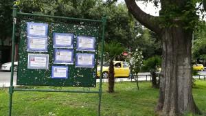 Anuncis de defuncions a un plafó informatiu del centre de Gevgelija