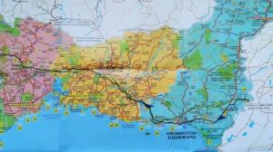Mapa de la nostra ruta a peu per Grècia, 1 de 3 / Map of our walking route in Greece, 1 of 3