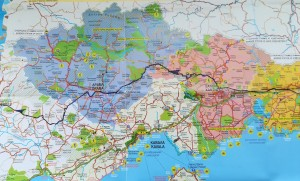 Mapa de la nostra ruta a peu per Grècia, 2 de 3 / Map of our walking route in Greece, 2 of 3