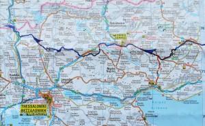 Mapa de la nostra ruta a peu per Grècia, 3 de 3 / Map of our walking route in Greece, 3 of 3
