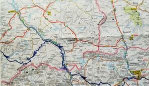 Mapa de la nostra ruta a peu per Macedònia, 1 de 2 / Map of our walking route in Macedonia, 1 of 2