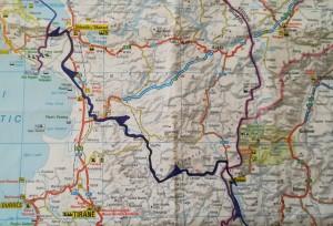 Mapa de la nostra ruta a peu per Albània