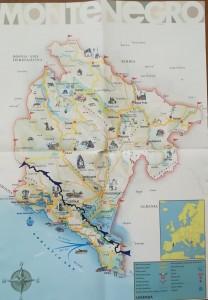 Mapa de la nostra ruta a peu per Montenegro