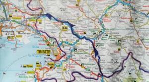 Mapa detallat de la nostra ruta a peu per Eslovènia.   Detailed map of Slovenia with our route marked.