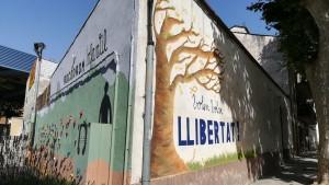 Vallgorguina. Rocòdrom infantil i cartell reivindicatiu de la llibertat i independència de Catalunya. //// Catalonia wants to fly, free (independent)