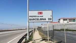 Un cartell que ja anuncia el final de la nostra ruta. Només manquen 22 quilòmetres!