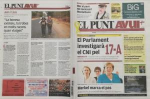Entrevista al diari El Punt Avui. Contraportada del diari