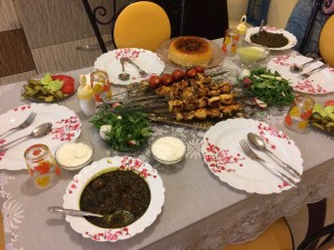 One of the fabulous dinners we had in Iran: Kebabs, salad, beans with meat and veggies. rice, yogurt, and yes, bread! Before this we had fresh fruit picked from the garden and ice cream with rose water! Hosh maze! Delicious!