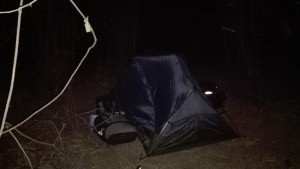 We've gotten good at pitching our tent and breaking down our campsites in total darkness.